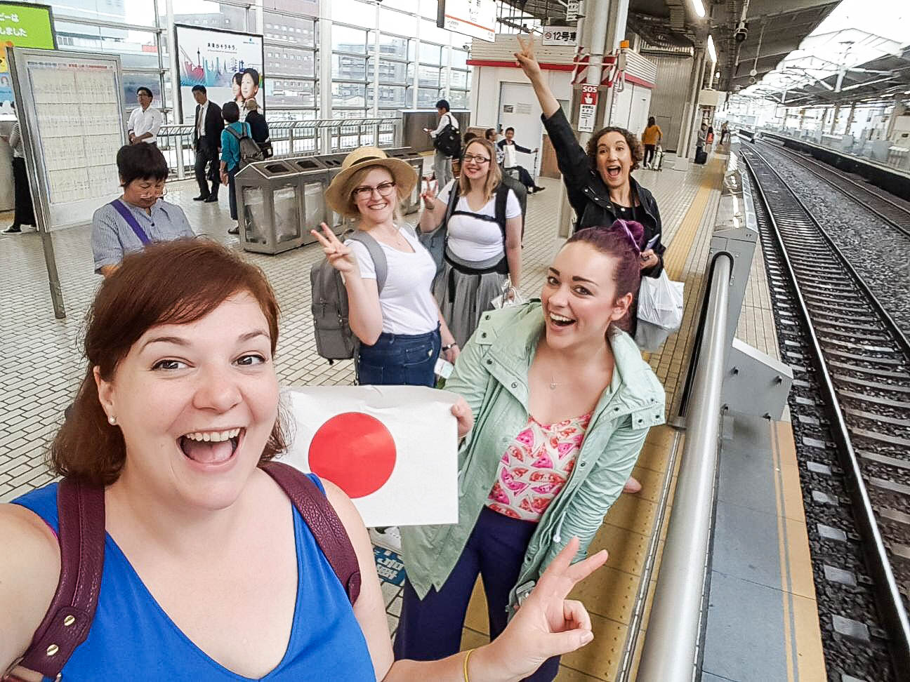 Waiting for the bullet train from Osaka to Kyoto