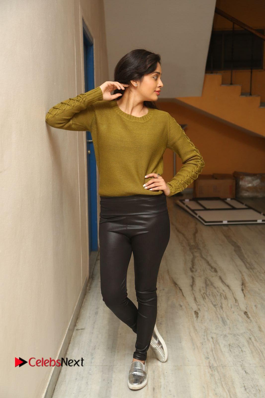 Nandita Swetha Stills in Leather Pants at Janaki Ramudu Audio Launch