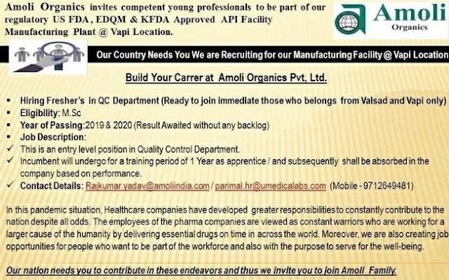 Amoli organics - hiring M.Sc freshers for Quality Control department