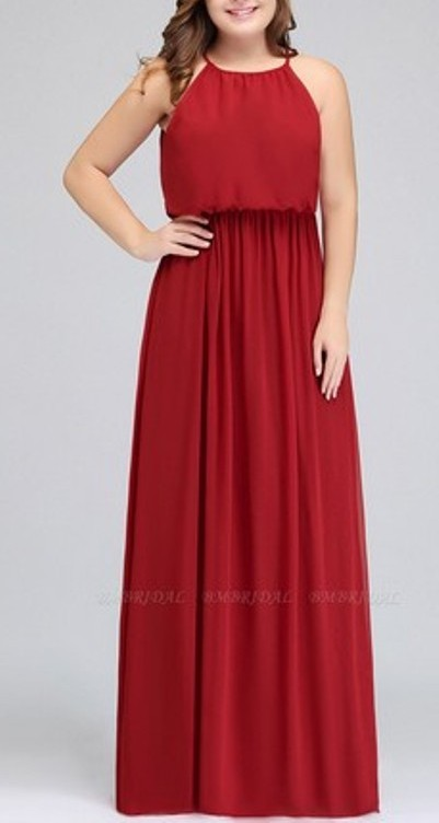 Plus Size A-Line Ruffles Red Bridesmaid Dress– Price: US$ 99.00