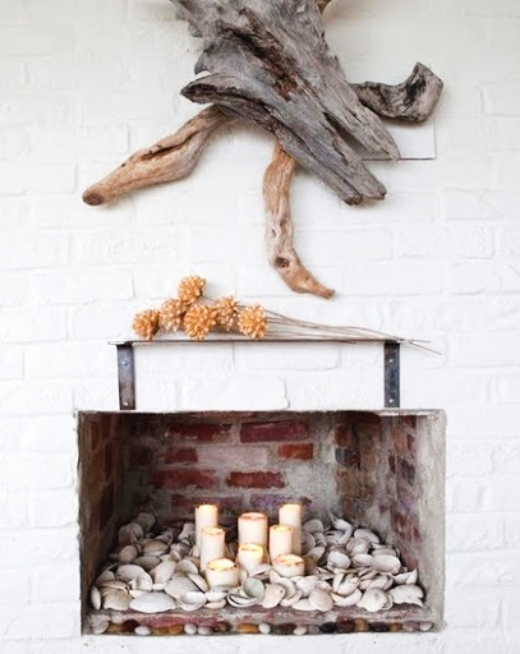 Shell Filled Fireplace Opening
