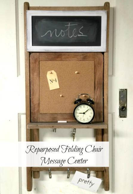 Repurposed Vintage Folding Chair Message Center www.homeroad.net