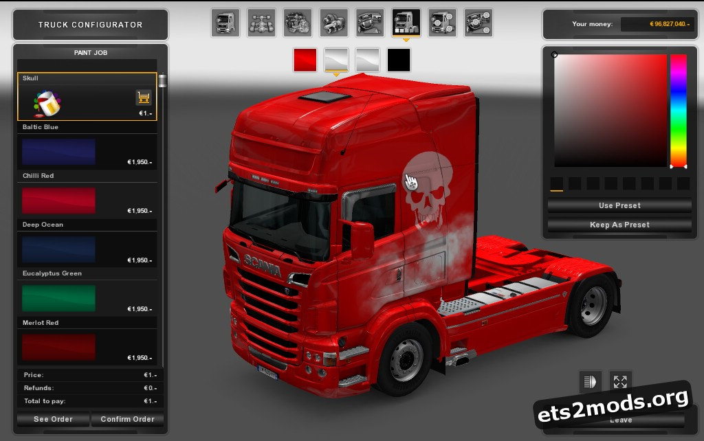 Colored Skull&Smoke Skin for Scania RJL