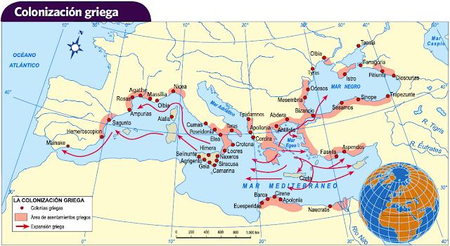 Resultado de imagen de mapa colonias griegas