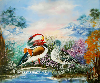 Digital print Mandarin Ducks of my original oil painting in handmade