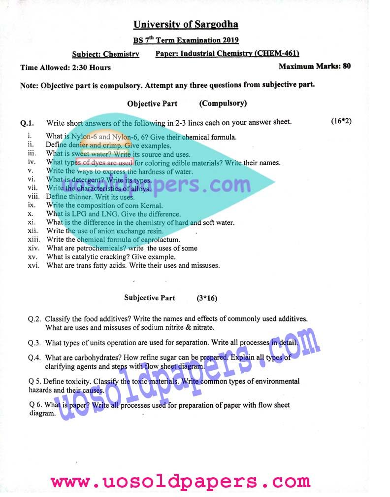 CHEM-461: Industrial Chemistry, BS Chemistry, Term System Exam
