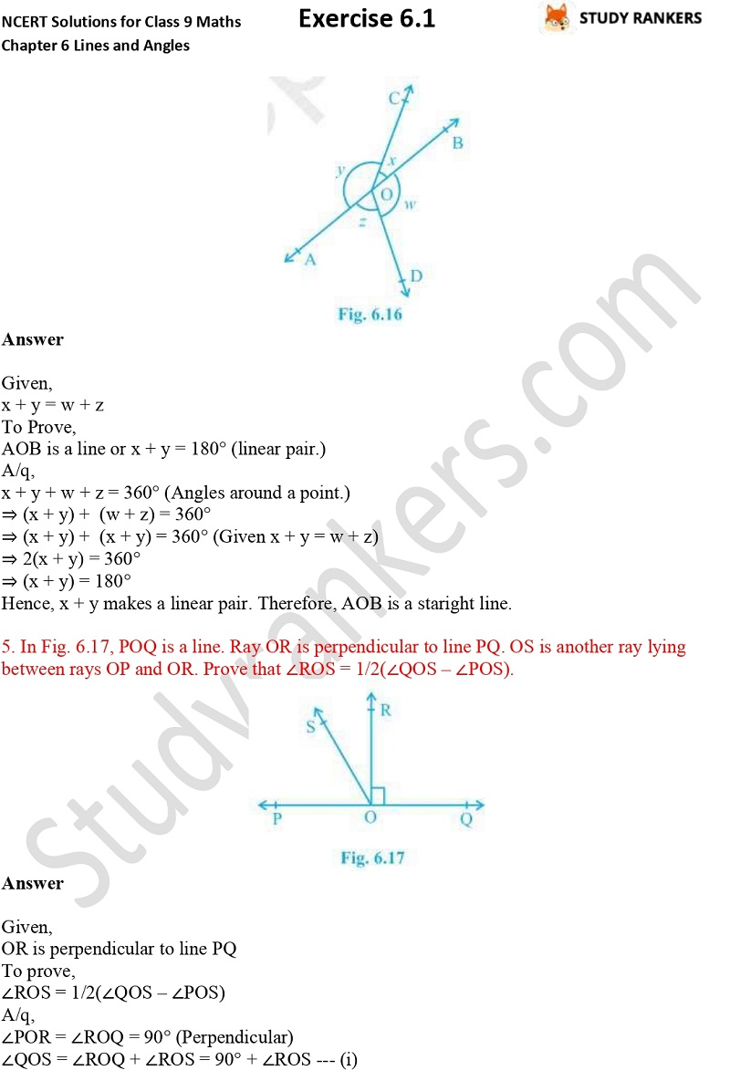 NCERT Solutions for Class 9 Maths Chapter 6 Lines and Angles Exercise 5.3 Part 3