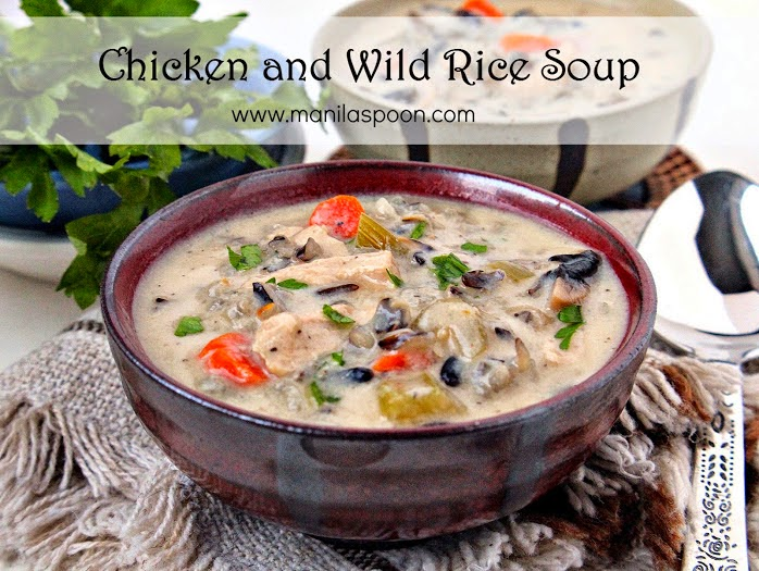 Delicious wild rice soup with chicken and mushrooms simmered in a creamy wine-flavored sauce is easily fall and winter's comfort food! | manilaspoon.com