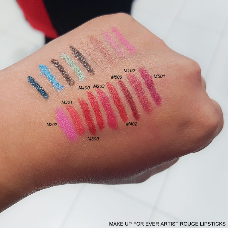 Make Up For Ever Artist Rouge Lipsticks - Swatches  M202 - M301 - M300 - M400 - M203 - M402 - M500 - M102 - 501
