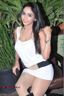 Actress Model Pooja Sri Stills in White Short Dress at F Club pre soft Launch  0111.JPG