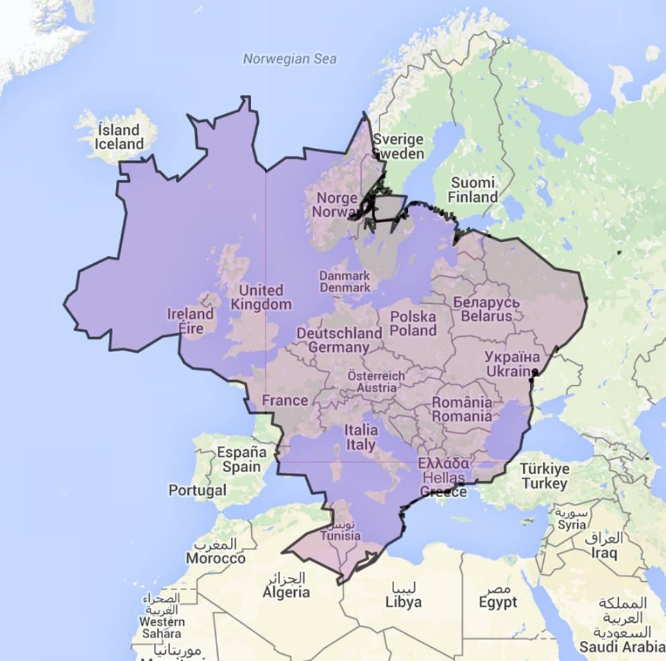 Big Map Of Spain.How Big Is Brazil Vivid Maps