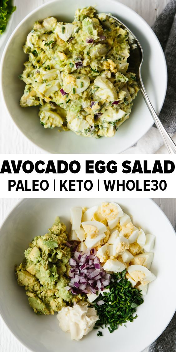 Avocado Egg Salad - Paleo, Keto, Whole30 Recipe - This avocado egg salad takes your classic egg salad recipe and adds healthy avocado for a creamy, nutritious and tasty new avocado egg salad recipe you're sure to love. It's a delicious paleo, keto and whole30 recipe.