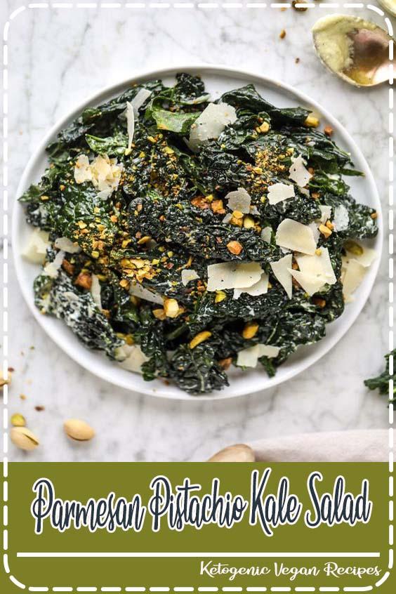 The base is lacinato kale but you can certainly use curly green kale Parmesan Pistachio Kale Salad
