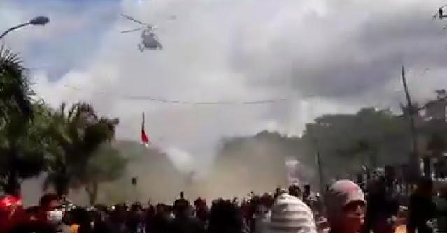 Heli Terbang Bubarkan Massa Aksi, Polda Sultra: Pilot Manuver Sendiri