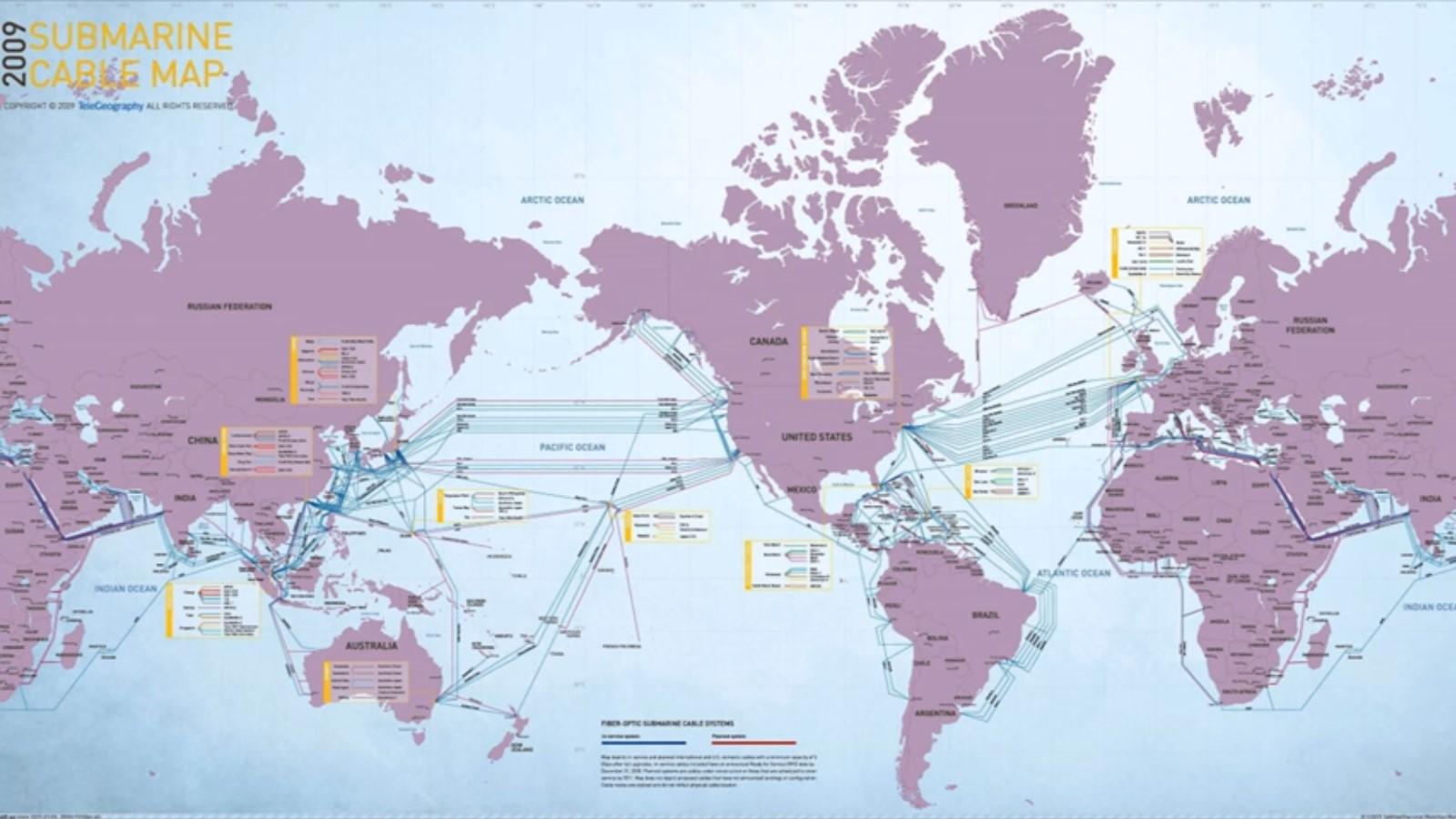 оптоволоконные кабели проложенные по всему миру