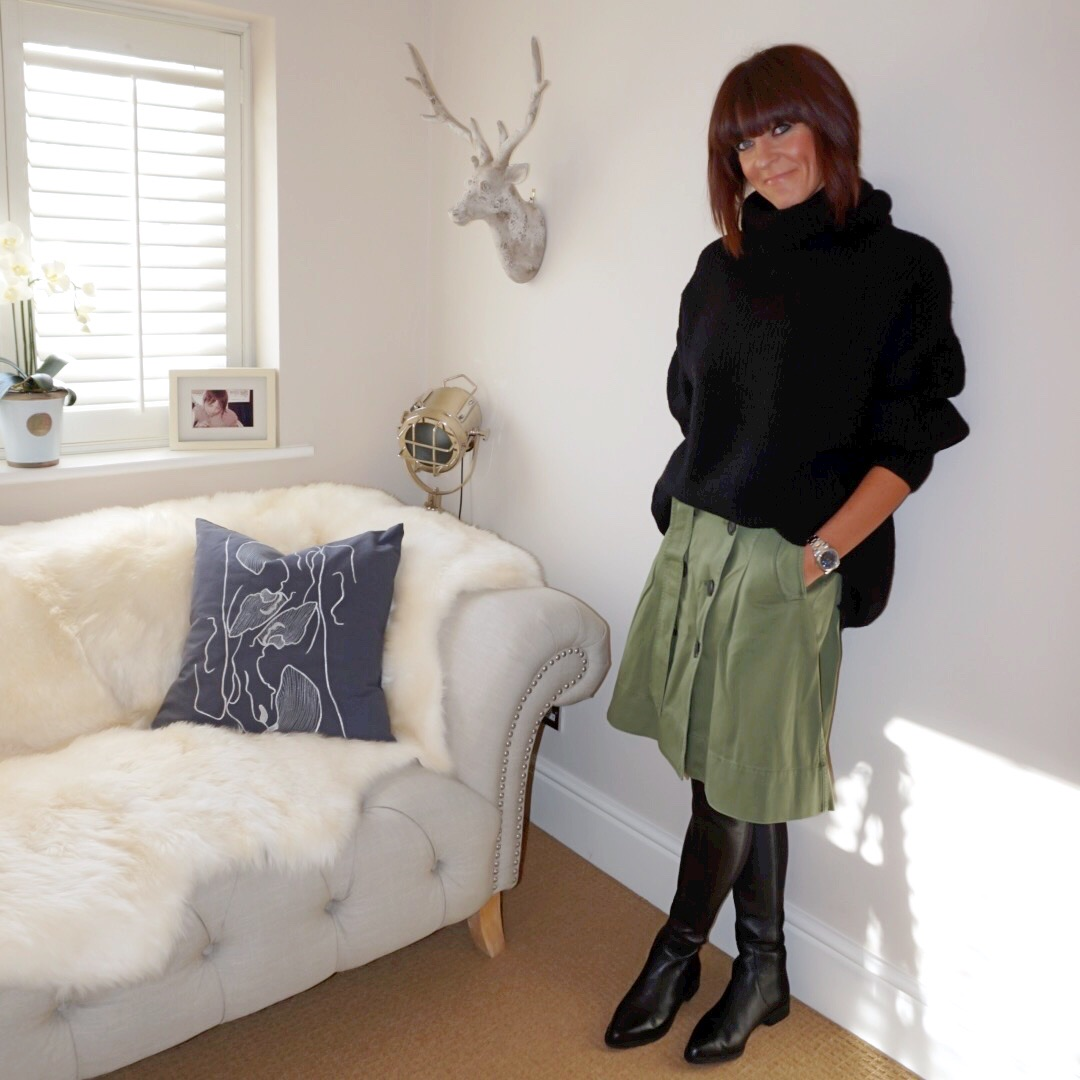 my midlife fashion, zara oversized roll neck sweater, j crew double breasted box pleat midi skirt, zara leather over the knee boots