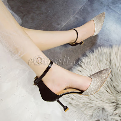 sequins toe closed high heels shoes