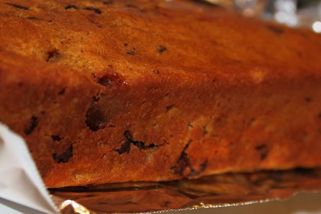 this is a pumpkin loaf cake with chocolate chips in it