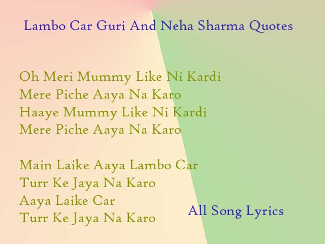 Lambo Car Song By Guri And Neha Sharma Lyrics