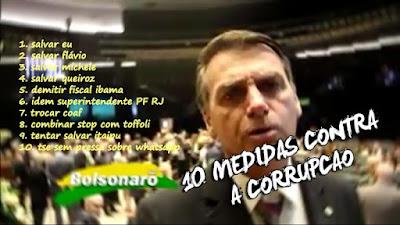 Medidas de Bolsonaro contra a corrupção - humor