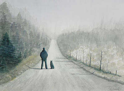 Solitary man and his dog painting