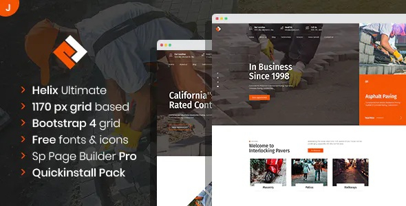 Best Paving Contractor Joomla Template with Page Builder