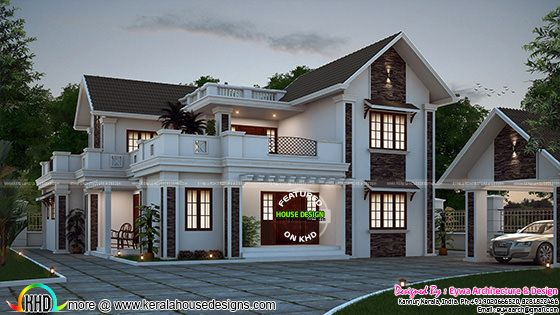 Grand sloping roof house architecture