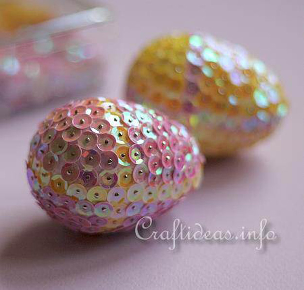 Easter Eggs Decorated with Sequins