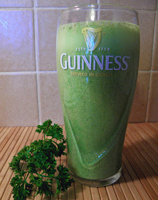 Guiness Pint Glass Filled with Green Smoothie