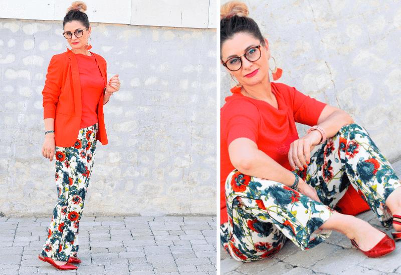 Slingback-Ballerinas-kombinieren-Orange-und-Rot-Outfit
