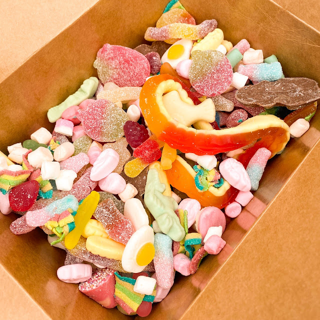 Open box of Pick N Mix Sweets