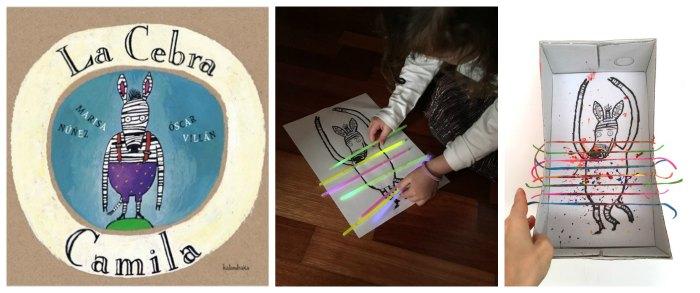 cuentos infantiles imprescindibles con actividades, juegos o manualidades, pintar buscar rayas cebra camila