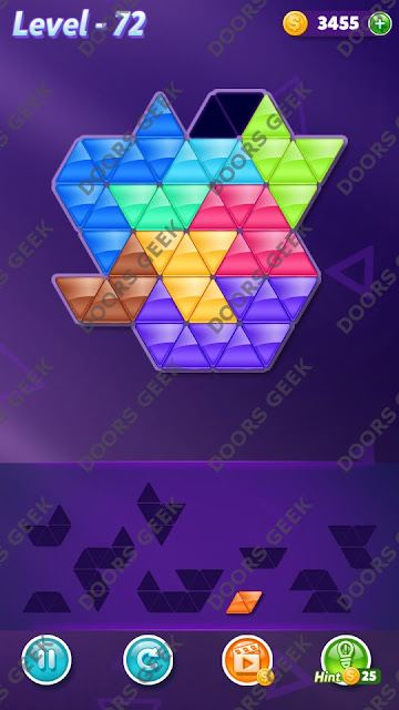 Block! Triangle Puzzle 9 Mania Level 72 Solution, Cheats, Walkthrough for Android, iPhone, iPad and iPod