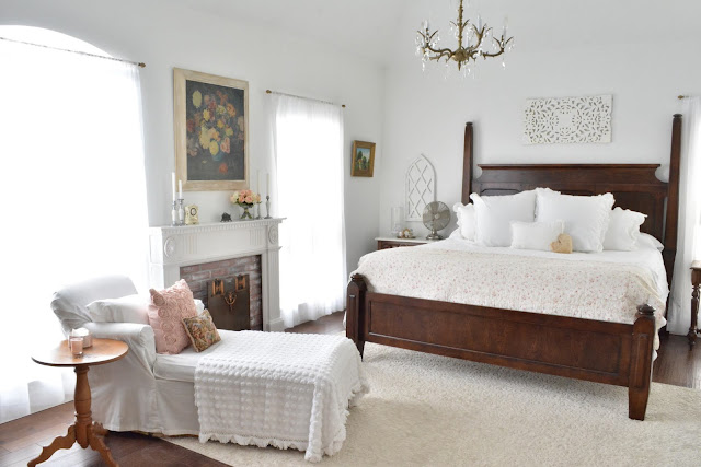 Dark Wood Bed in a White Room, Blush Pink