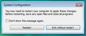 Asking for restart after system configuration