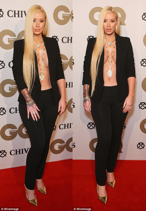 Iggy Azalea put her surgically enhanced boobs on display at the GQ men of the year awards in Sydney Australia  The    year old rapper who is reportedly     Victor Nwankpa s Blog