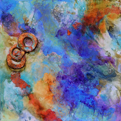 Faux Encaustic colorful space painting