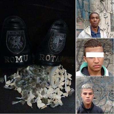 ROMU e ROTAM de Mauá detém elementos com drogas na biqueira da favela da laje