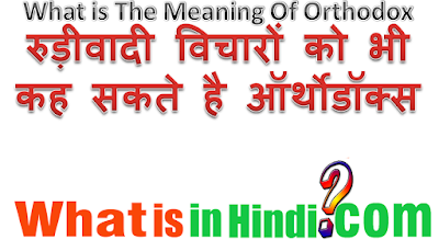 What is the meaning of orthodox in Hindi