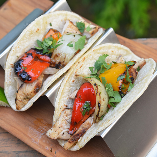 Fajita style chicken tacos cooked on the Big Green Egg.