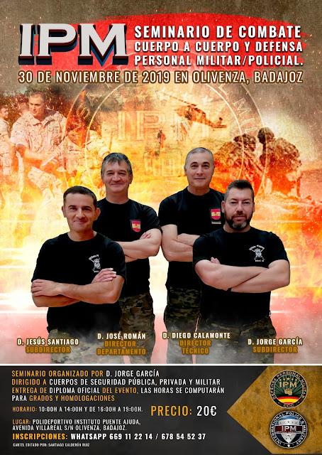 Seminario de Combate Cuerpo a Cuerpo y Defensa Personal Militar Policial IPM en Badajoz