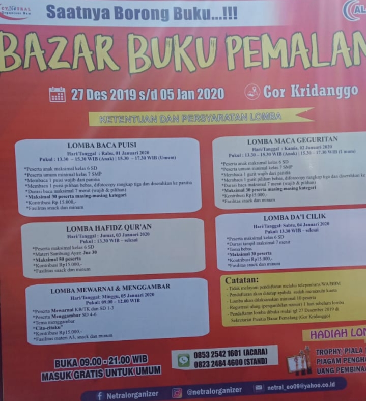 jadwal bazar buku pemalang