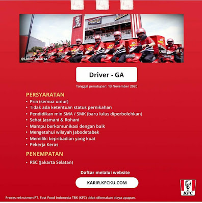 Lowongan Kerja KFC Indonesia Driver SMA Sederajat
