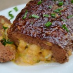 Easy stuffed Meatloaf with gooey Cheese and a delicious BBQ topping - perfect any day dinner