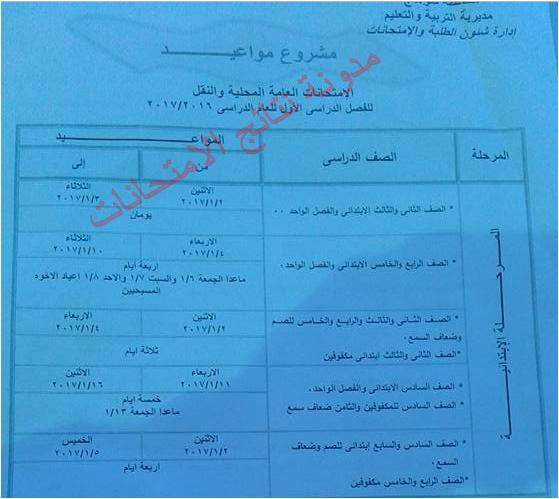 جدول مواعيد إمتحانات نصف العام للشهادة الابتدائيه بسوهاج 2017 بالصوره