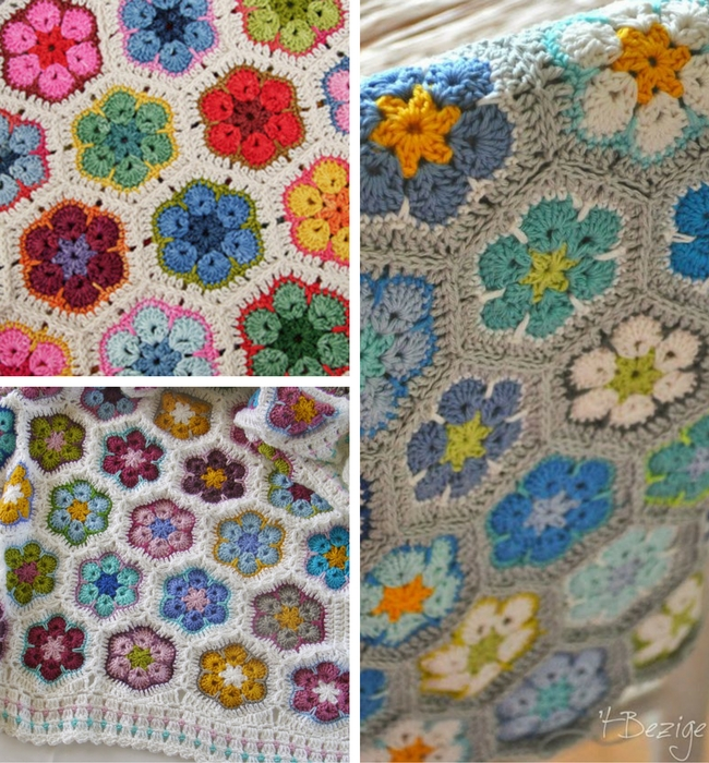Crochet hexagon blankets: African flowers (photos by Lanas de Ana, 't bezige bijtje) | Happy in Red