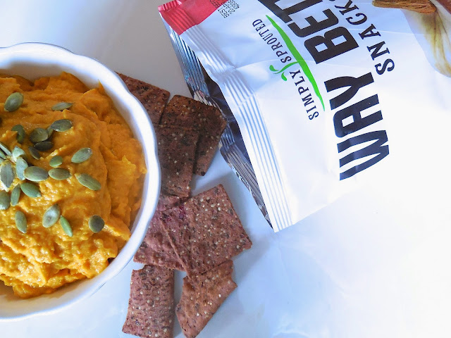Pumpkin Hummus with Way Better Snacks Oh, My Sweet Punkin & Cranberry Corn Tortilla Chips