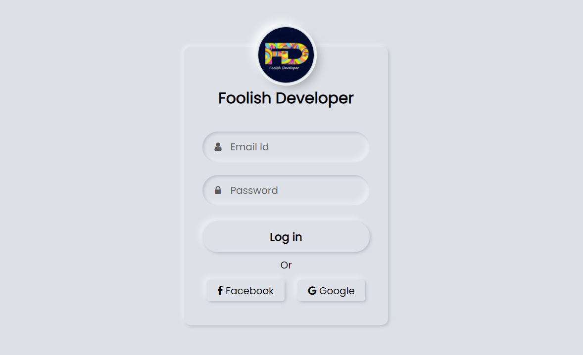Neumorphism Login Form UI Design Using HTML and CSS