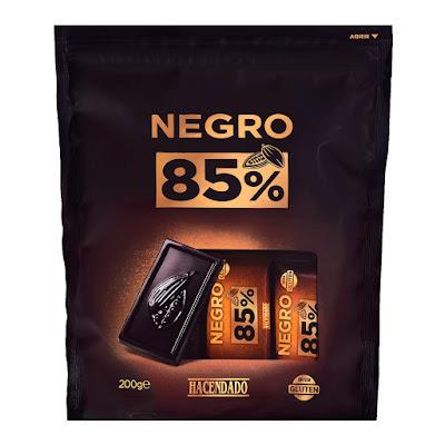 Chocolatinas de chocolate negro extrafino 85% de cacao Hacendado