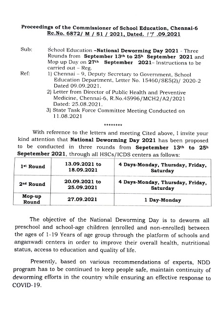 NATIONAL DEWORMING DAY 2021- PROCEEDINGS OF THE COMMISSIONER SCHOOL EDUCATION